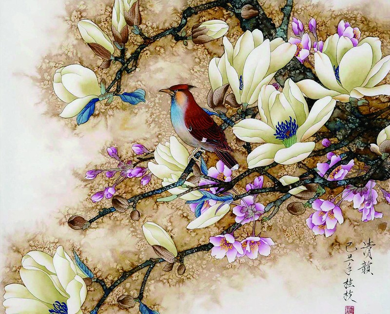 Frameless picture by numbers hand painted DIY digital oil painting on Canvas Home Decor Wall Poster Gift Birds and Flowers(China (Mainland))