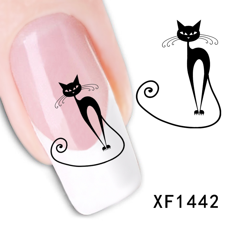 Free shipping Japanese style watermark 1 Sheets 3D Design cute DIY black cat Tip Nail Art nail sticker nails Decal nail tools(China (Mainland))