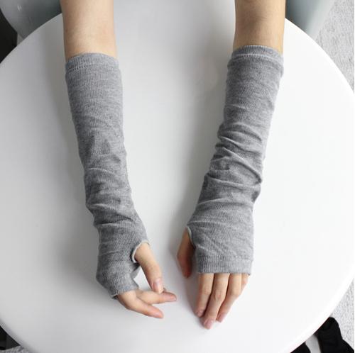 New 2014 Fashion Women's Winter Knitting Wool Warm Arm Warmer Fingerless Long Gloves Leisure 4 Colors Free Shipping(China (Mainland))