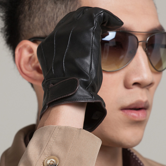 Male fashion genuine leather classic business casual male gloves