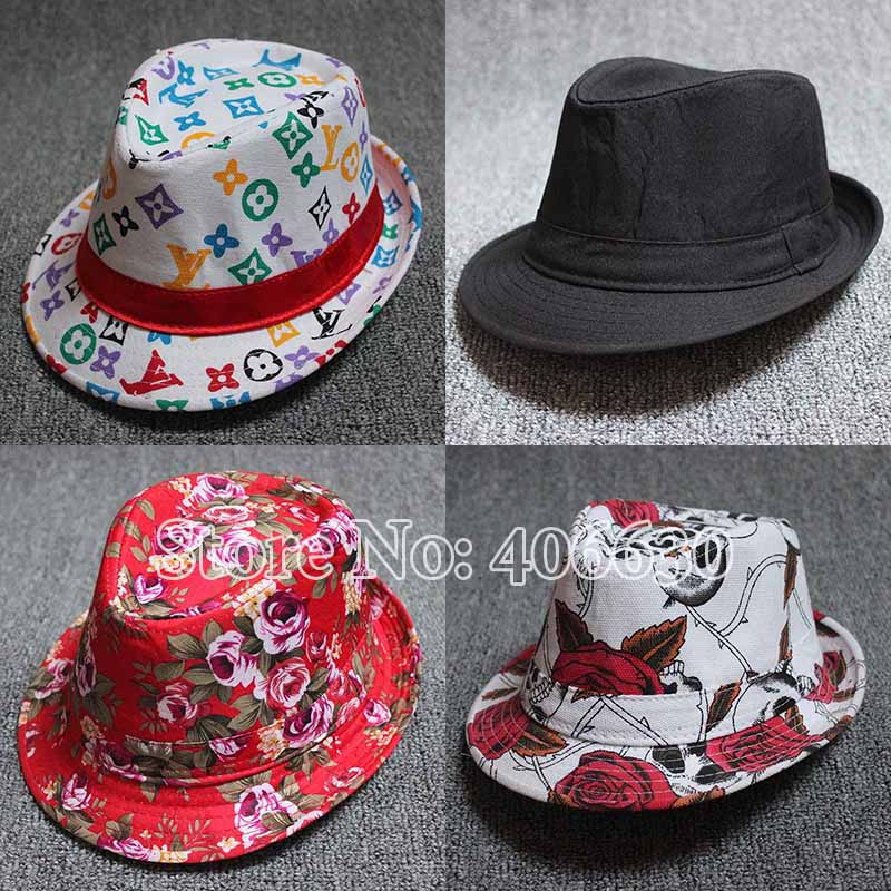54cm Headsize Spring Children Fedora Hats Pattern Kids Top Jazz Small Brim Trilby Caps Free Shipping CBXB-002R(China (Mainland))