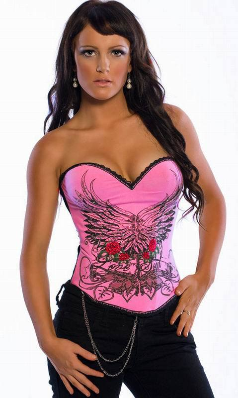 Red Rose & Leaf Image Pink Satin Corset S M L XL 9S3011(China (Mainland))