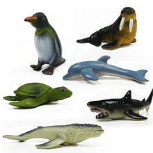 Free Shipping (6 pieces/set) High Imitation Sea Life Animal Model Toys Walrus/Humpback whales/Dolphin Big Real-Looking Figures t