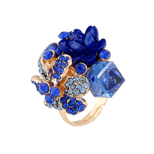 Purple flower ring for women hot sale crystal fashion party ring colorful jewelry trendy resin adjustable women's ring(China (Mainland))