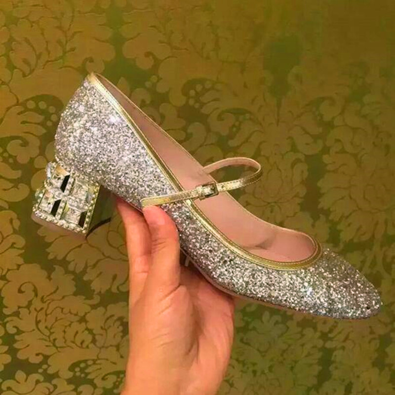 Fashion Rhinestone Medium Heels Glitter Round Toe Women Pumps High Quality Sliver Gold Ladies Bride Cheap Designer Wedding Shoes(China (Mainland))