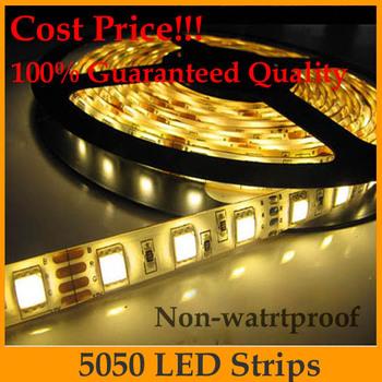 High Quality 50m Warm White LED Flexible strip light 300LED IP65 Non-waterproof DC12V SMD 5050 Led Ribbon Tape