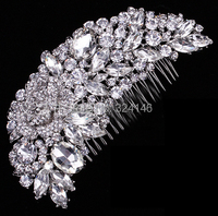 2015 Hot sale New style Leaf shape crystal bridal hair combs wholesale wedding Hairpins bride hair jewelry 3101