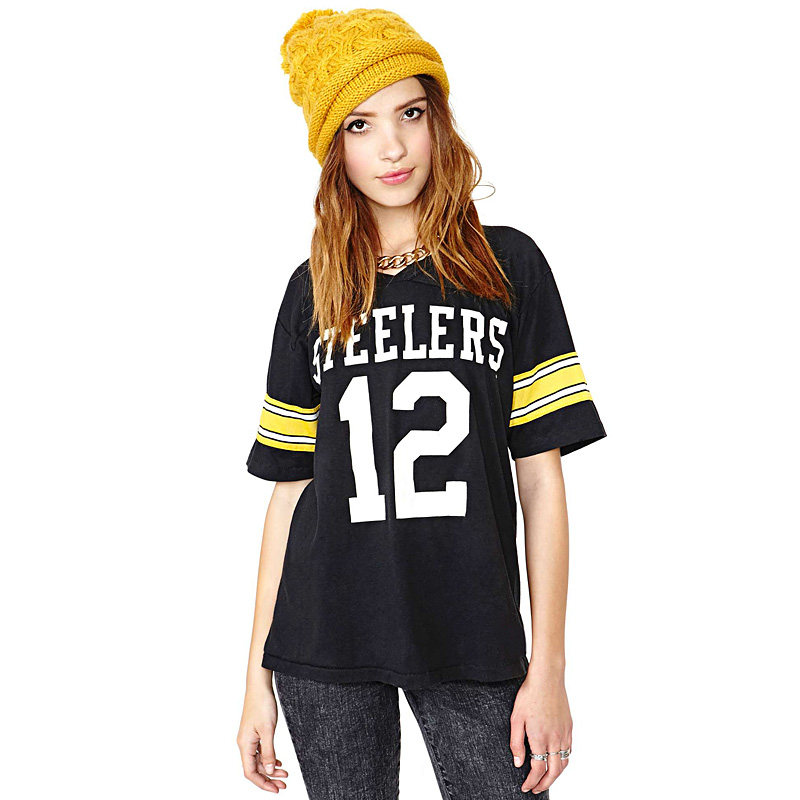 RICHCOCO casual Steelers 12 letter stamp football T-shirt E273(China (Mainland))