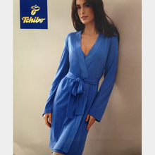 womens\mujer summer\spring cotton plus size kimono robes lady\female\femme blue bandage long brief peignoire\night robe\bathrobe()