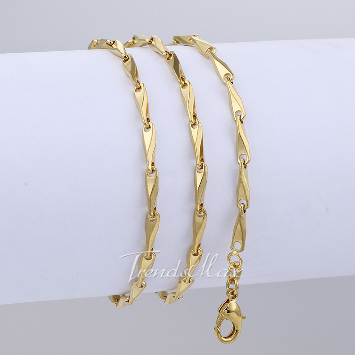 3mm 50.6cm Men Chain Women 18K Yellow Gold Filled Necklace Chain Stick Trendy Link Chain Wholesale Gift Jewelry Jewellery LGN405(China (Mainland))