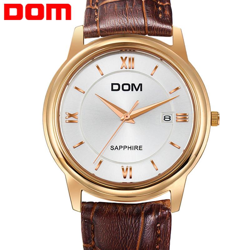 2014 Brand new Dom M-512 fashion Ultra-thin waterproof quartz watches men business casual wristwatch men genuine leather watch<br><br>Aliexpress