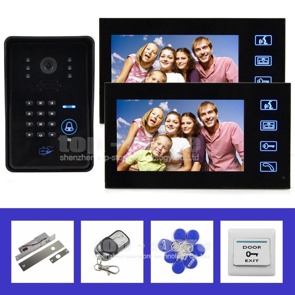 Remote Control 7 Inch Video Door Phone Intercom System IR Password Keypad RFID Reader Waterproof Cover Camera Electric Bolt Lock(China (Mainland))