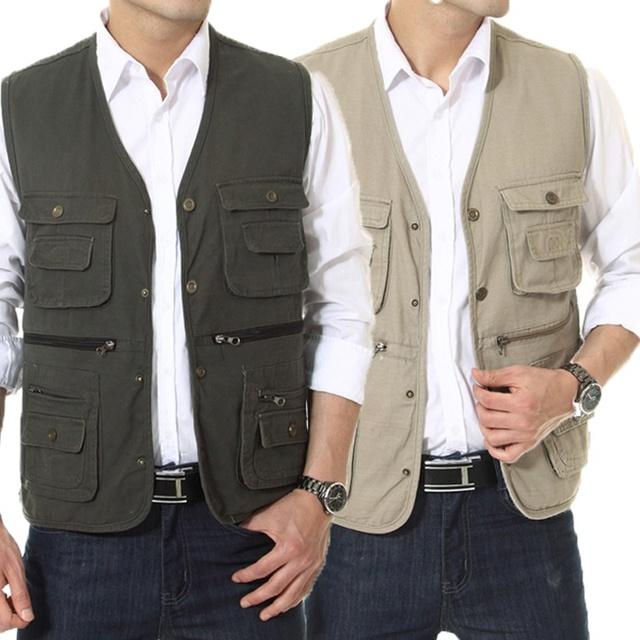 Новое мульти-карман мужчины жилет любителей фотографии охота жилет среднего возраста ...