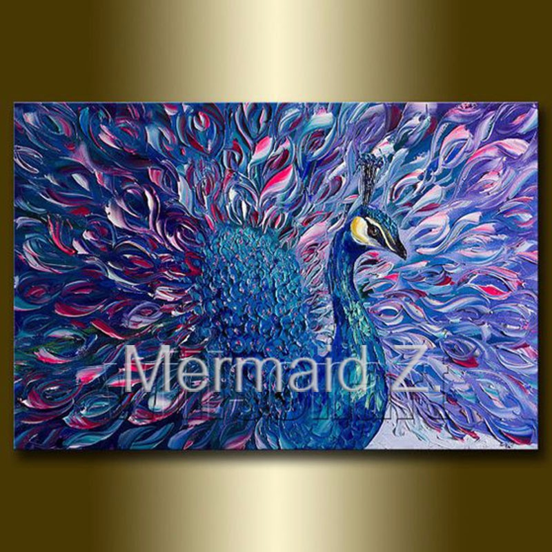 Buy Hand Painted Oil Painting Peacock Modern Animal Art Painting Textured Palette Knife Oil on Canvas paintings for living room wall cheap