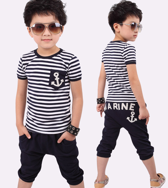 2014 summer navy style boys short-sleeve suits T-shirt + capris pants children clothing set kids wear baby clothes Free Ship - Top win Store store