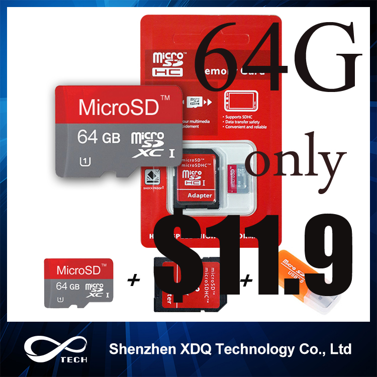 Memory card micro sd card 64GB class 10 4GB 8GB 16GB 32GB 64GB sd card real capacity class 10 flash card wit gift adapter(China (Mainland))