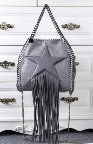 DHL Free Shipping! 6 Color Small Size Women's Star Fringe Tassel 3 Chain Shoulder Bags , Handbags , Measurement: 25 x26 x10cm(China (Mainland))