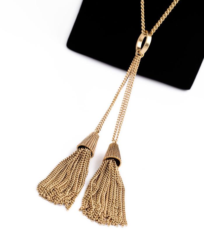 femmes mode collier marque bijoux accessoires de luxe magnifique l gante longue cha ne glands. Black Bedroom Furniture Sets. Home Design Ideas
