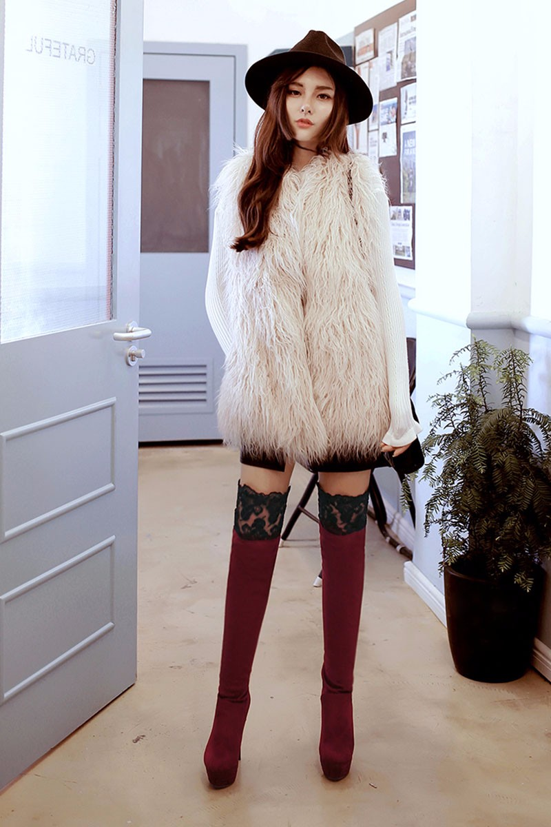 Big Size 34-46 Sexy Lace Stiletto Add Fur Lady's Winter Boots Female Footwear Thigh High Boots High Heels Platform Shoes Woman