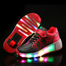 Kids Shoes with LED Light Children Shoes Heelys with Wheels Blue Pink Black Kids Shoes Sneakers with Led Light for Boys Girls(China (Mainland))