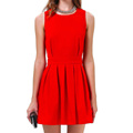 New Hot Red Sleeveless Knee Length Open Scallop Back Pleated Off The Shoulder Party Elegant Women