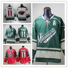 Wholesale Authentic Minnesota Wild #11 Zach Parise Jersey Third Green 3rd 100% Sewn Stitched Ice Hockey Jerseys Free Shipping(China (Mainland))