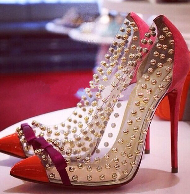 Crystal Rivet Red Bottom High Heels 5 Colors Women Pumps Sexy Wedding Shoes Woman, Size 35-43(China (Mainland))