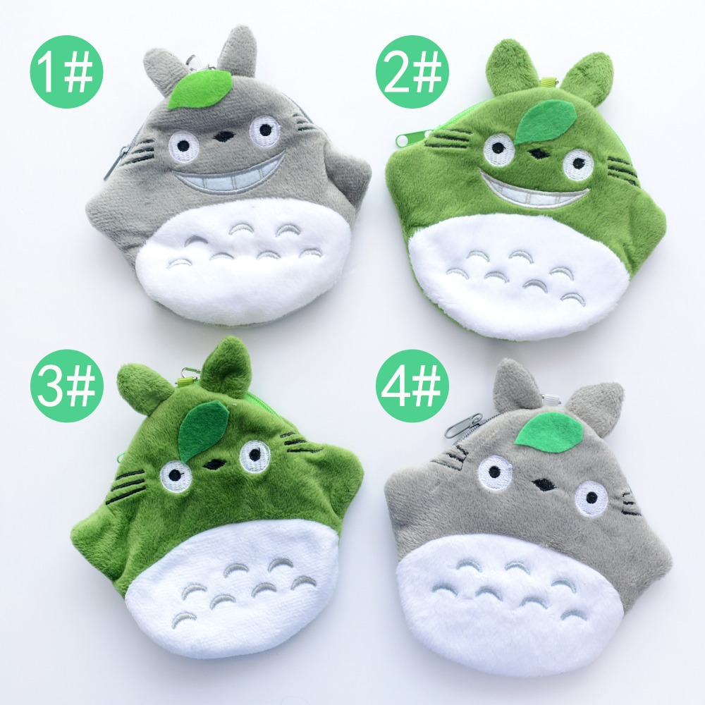 Portable 2 Layer Cartoon Grey Green Totoro Plush Girls Coin Purse Wallet  Bags Neck Bag 5*5 New Arrival<br><br>Aliexpress
