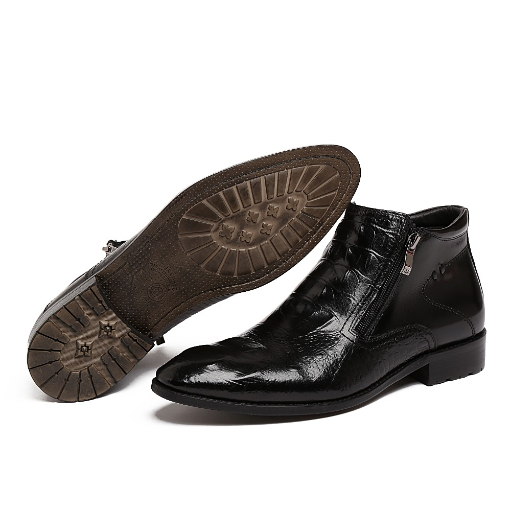 Fashion Crocodile Grain mens dress boots genuine leather zb110(China (Mainland))