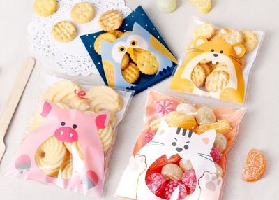 100PCS Cute Animals Candy Cake Biscuits Cookies Packaging Bags Self-adhesive Plastic Gifts Bags Party Birthday Snack Baking(China (Mainland))