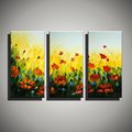 3 piece canvas wall art modern red white flower poppy handpainted picture oil painting on canvas
