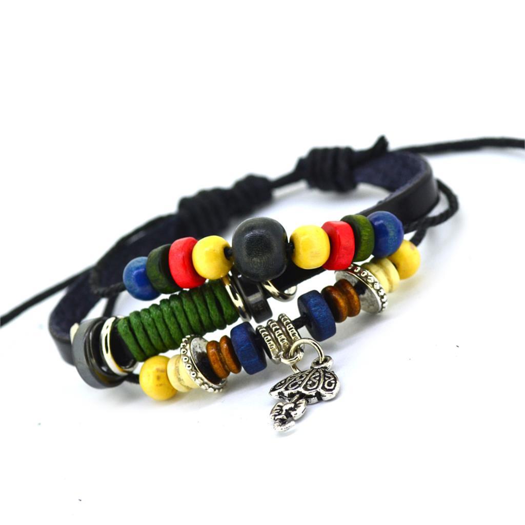 Vintage Retro Handmade Bohemia Wooden beads Adjustable Leather Bracelet For Women Men Unisex Jewelry Star Silver