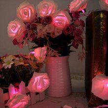 Hot Sale Christmas Decoration Fashion Holiday Lighting 20 x LED Novelty Rose Flower Fairy String Lights Wedding Garden Party(China (Mainland))