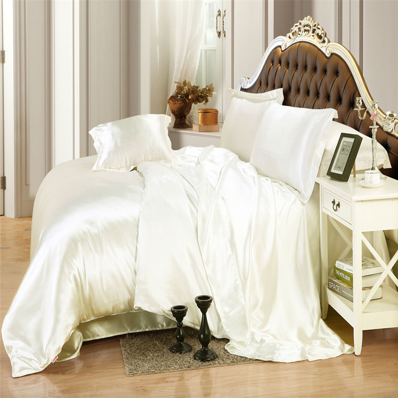Ivory color Silk bedding sets twin full queen king size soft bedcover solid color duvet cover set Fast shipping(China (Mainland))