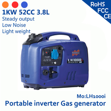 1KW 52cc 3.8L 120V or 230V Portable inverter gas generator overload and low oil alarm Steady output & Low Noise & Light weight(China (Mainland))