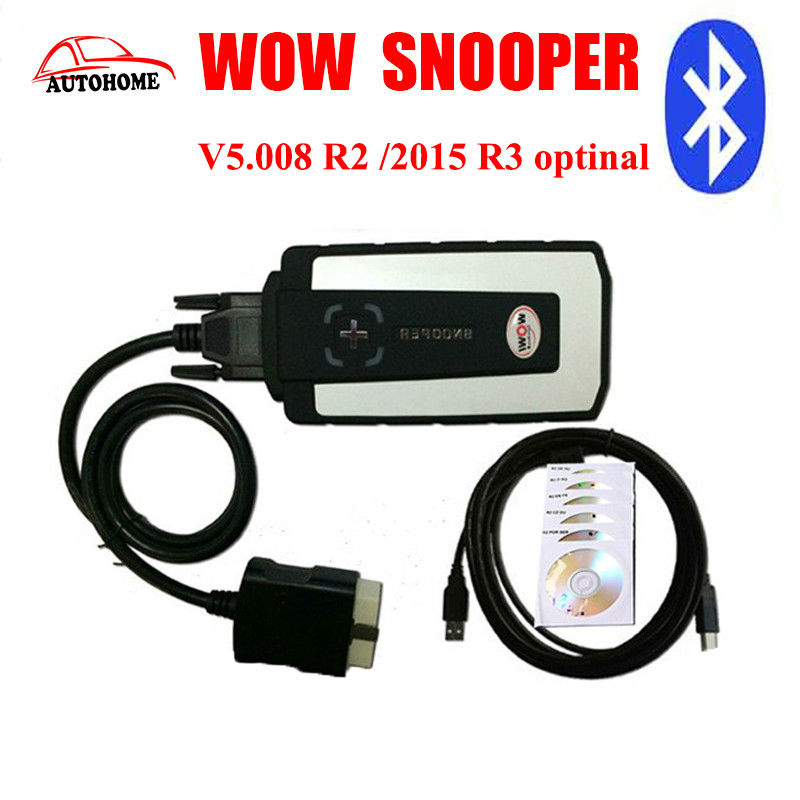 Top selling WoW Snooper with bluetoothV5.008 R2 /2015 R3 optinal software for cars with free china post shipping(China (Mainland))