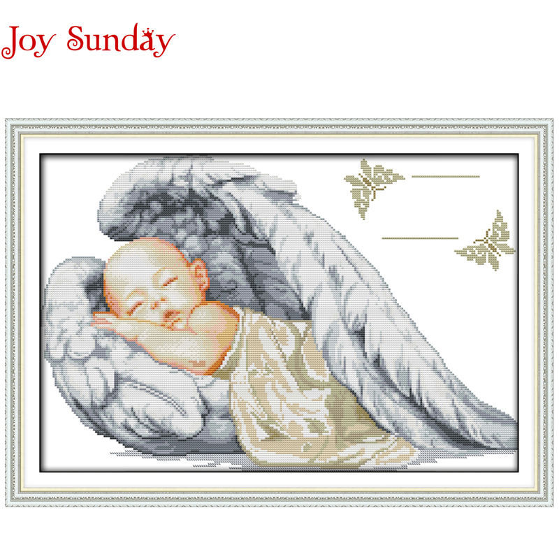 Little Angel Birth Certificate patterns Counted Cross Stitch 11 14CT Cross Stitch cartoon Cross Stitch Kit Embroidery Needlework(China (Mainland))
