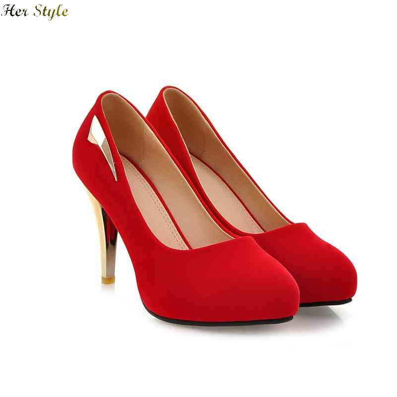 Free Shipping spring new fashion scrub round sweet red stiletto shoes wedding 1429407962(China (Mainland))