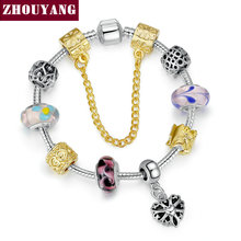 European Style Glass Beads Silver Plated Love Heart Charm Bracelets&Bangles Vintage DIY Fashion Jewelry for Women ZY PH019(China (Mainland))