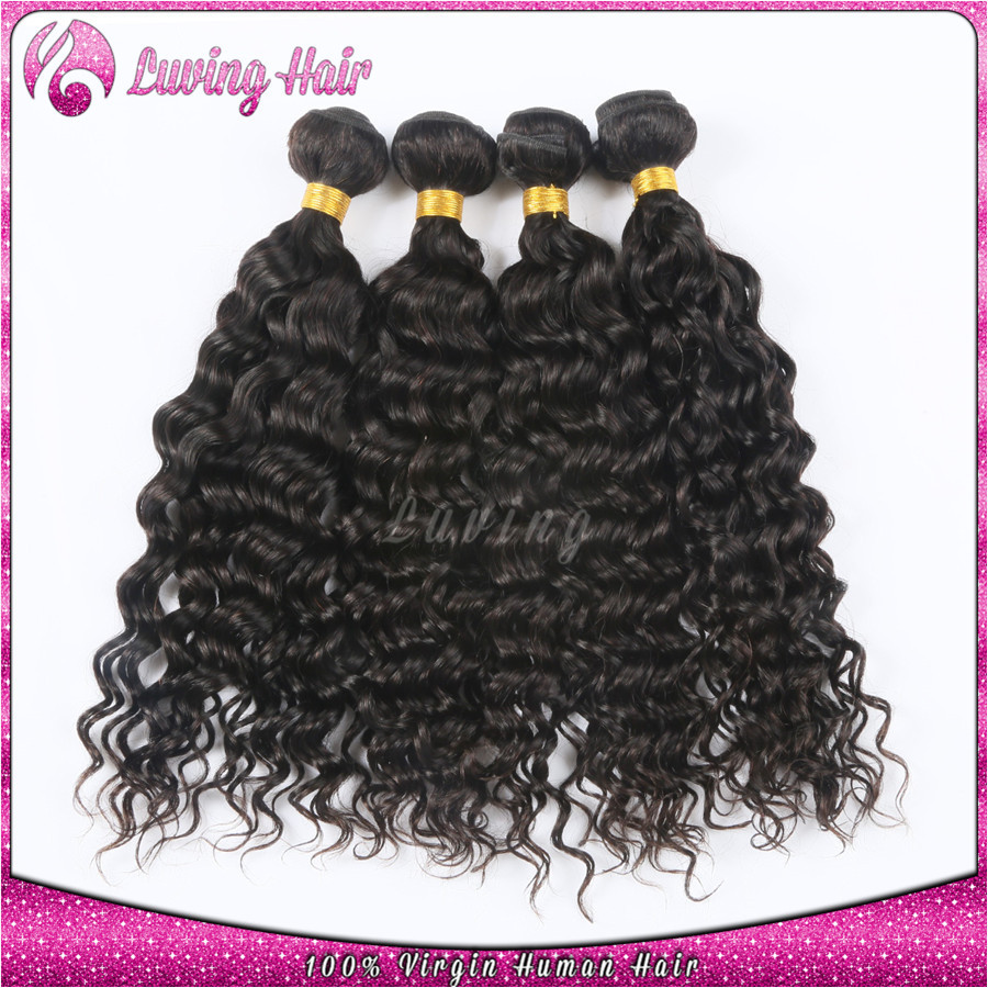 4 Bundles 7A Unprocessed Virgin Malaysian Wet and Wavy Hair Weave 4pcs lot Malaysian Water Wave Natural Curly Virgin Remy Hair(China (Mainland))