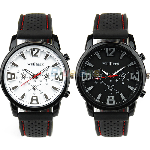 Fashion Military Pilot Aviator Army Style Silicone Men Outdoor Sport Wrist Watch Black White 0XBG