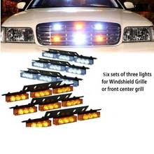 Red Blue White Green Amber 6×9 54LED Strobe Flash Warning Light Emergency Hazard Lamp Car Truck SUV Bumper Grille