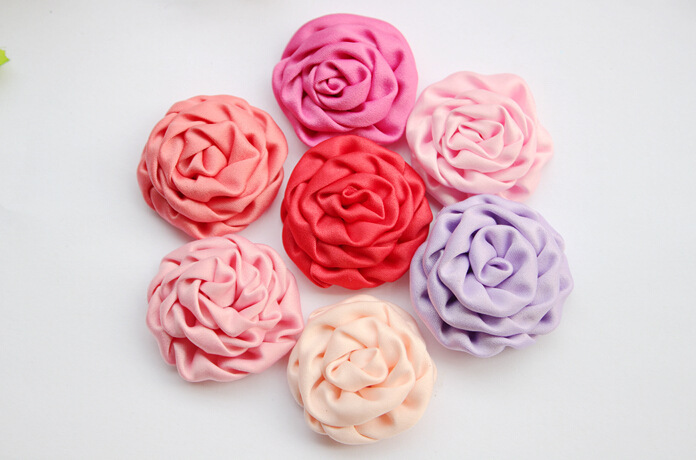 DIY 4Cm small size Headdress Rolled Ribbon Flower Rose Buds Satin Fabric Flowers For Hair Accessory 40Pcs/lot(China (Mainland))