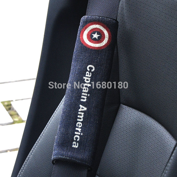 free creative cartoon American Captain car seat belt shoulder pad sets of protective sleeve Automotive supplies car accessories(China (Mainland))