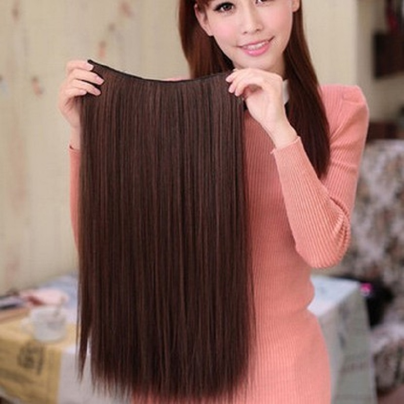 blended hair extension 5 clips in on hair 55 65 75cm length 25cm width black blonde brown nature hair piece free shipping