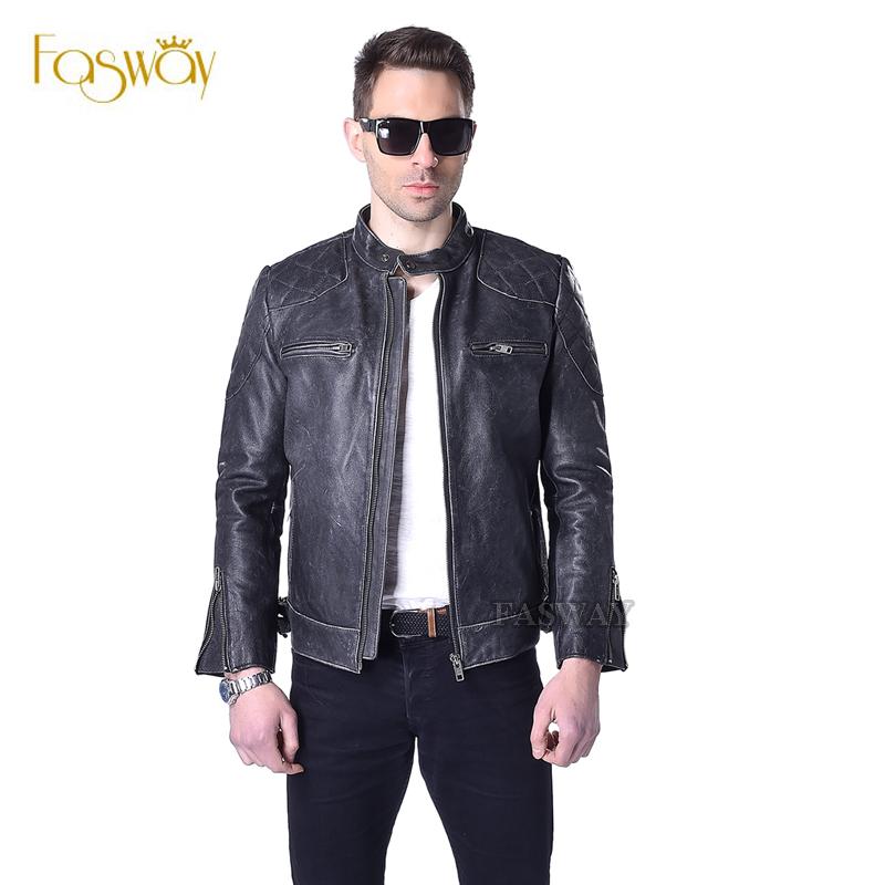 Factory Vintage Retro Genuine Leather Jacket Men Cowhide Calf Skin Black Thick Slim Fit Motorcycle Biker Men's Winter Coat F011(China (Mainland))