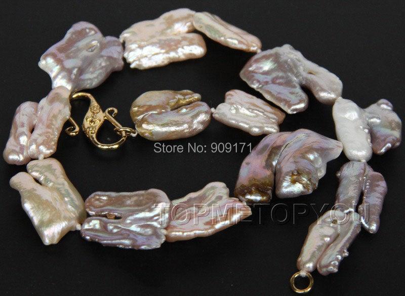 "Free Shipping>>natural 17"" 28mm baroque pink purple Reborn keshi pearls necklace(China (Mainland))"