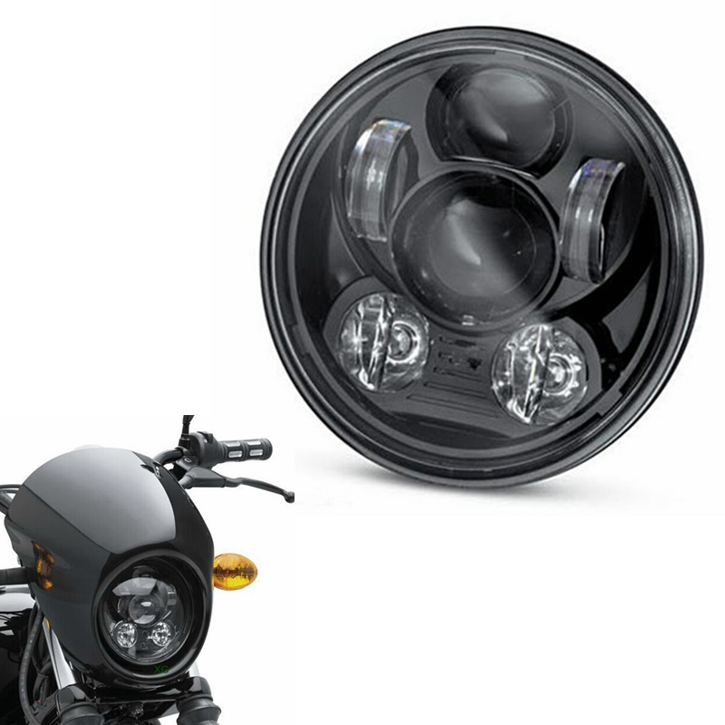 "Harley Accesorios Moto Black Projector Daymaker 5-3/4"" 5.75"" LED Light H4 Headlight For Harley Street Bob FXDB Dyan Sportsters(China (Mainland))"