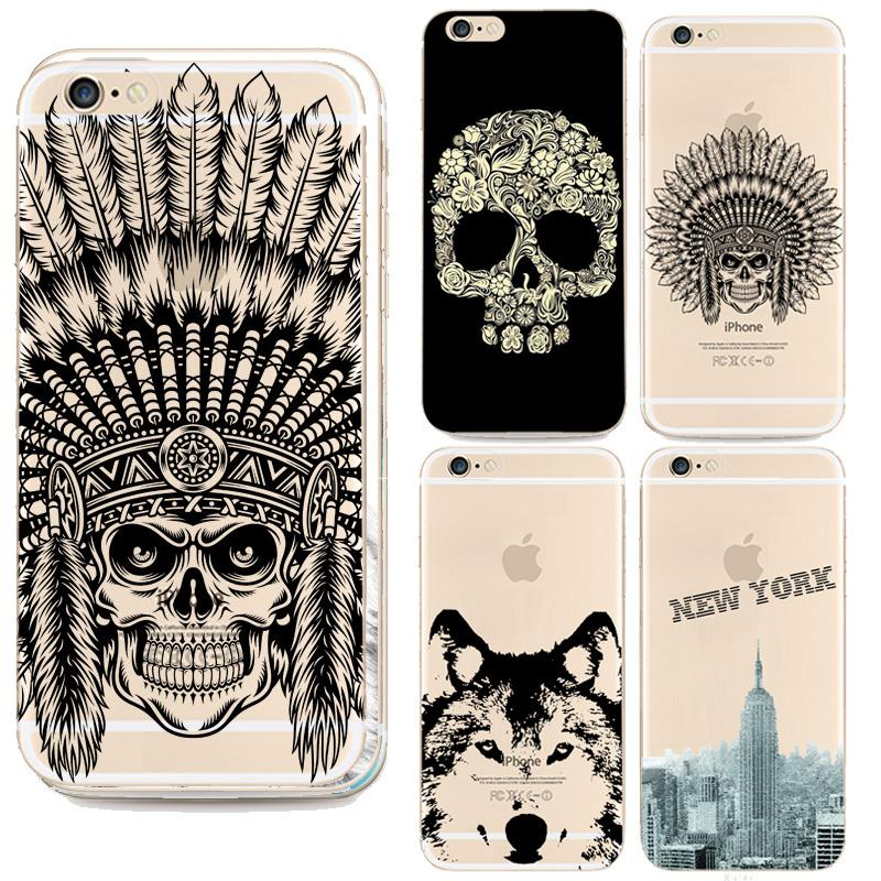 2016 New Top Indian Head Skull Phone Case For Apple Iphone 6 6s Case Animal Dog Pattern For Iphone 6 4.7 Inch Cases(China (Mainland))
