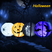 1 pcs Halloween Decoration LED Paper Pumpkin Light Hanging Lantern Lamp Halloween Props Outdoor Party Supplies(China (Mainland))